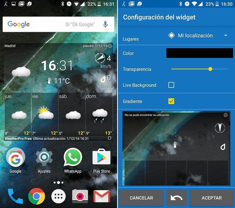 Los mejores widgets android 2017 for Widget tiempo android