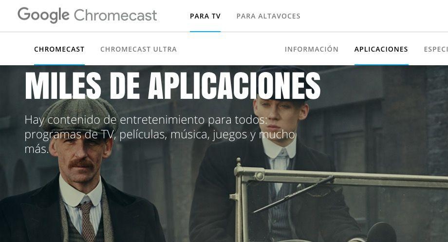 Aplicaciones para Chromecast