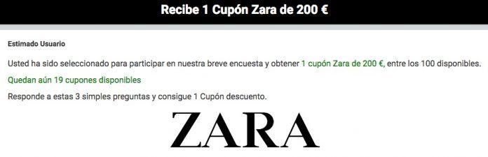 Cuidado con el falso cupón de Zara de 200 euros