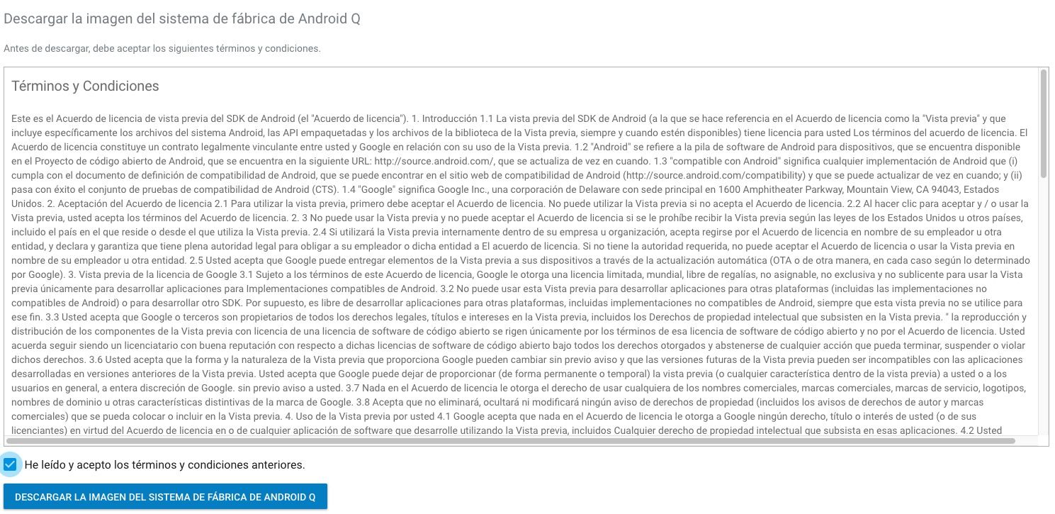 Descargar Android Q para Pixel2 o 3