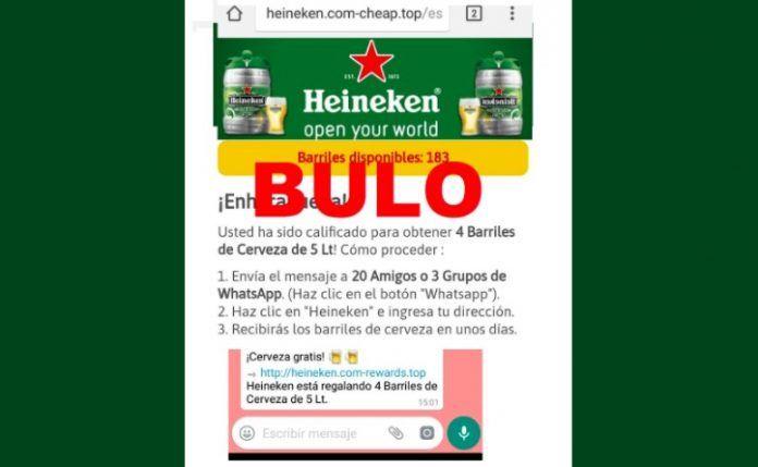 Heineken regala barriles de cerveza es una estafa de WhatsApp