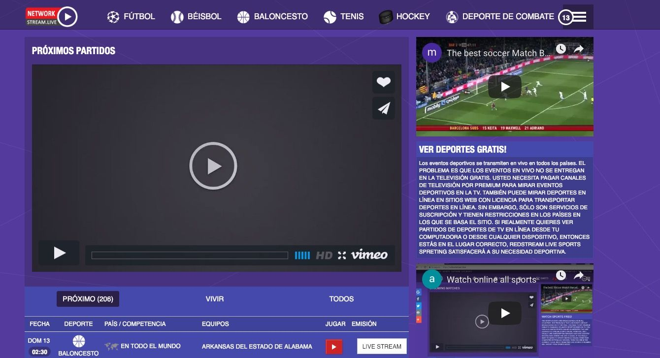 Mejorpágina para ver deportes online gratis