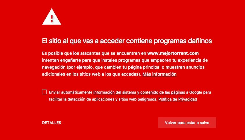 MejorTorrent es bloqueada