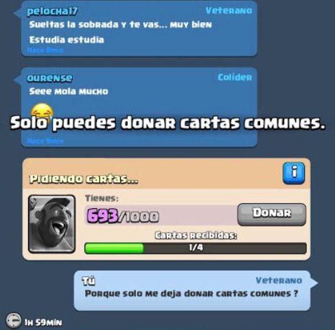 Solo puedes donar cartas comunes Clash Royale