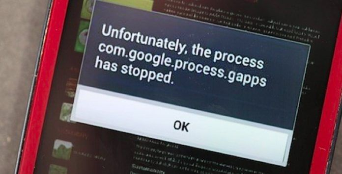 Solución: com.google.process.gapps has stopped