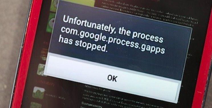 Solución: com.google.process.gapps has stopped