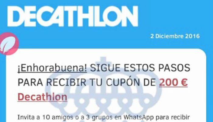 Los cupones de 200 euros de Decathlon que circulan por WhatsApp son falsos