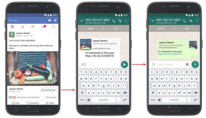 Cómo enviar un WhatsApp a una empresa desde Facebook