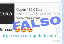 cupón de 150 € de Zara que circula WhatsApp es falso