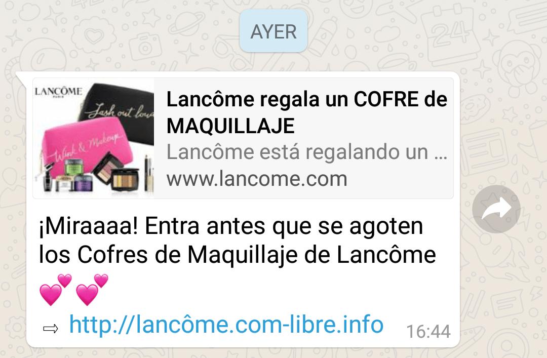 lancome regala maquillaje whatsapp