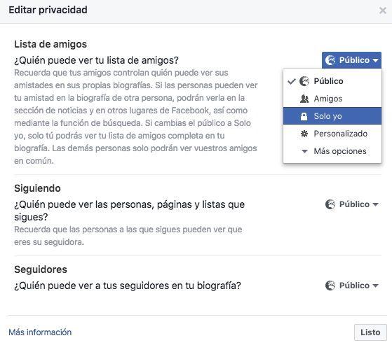 ocultar lista amigos facebook