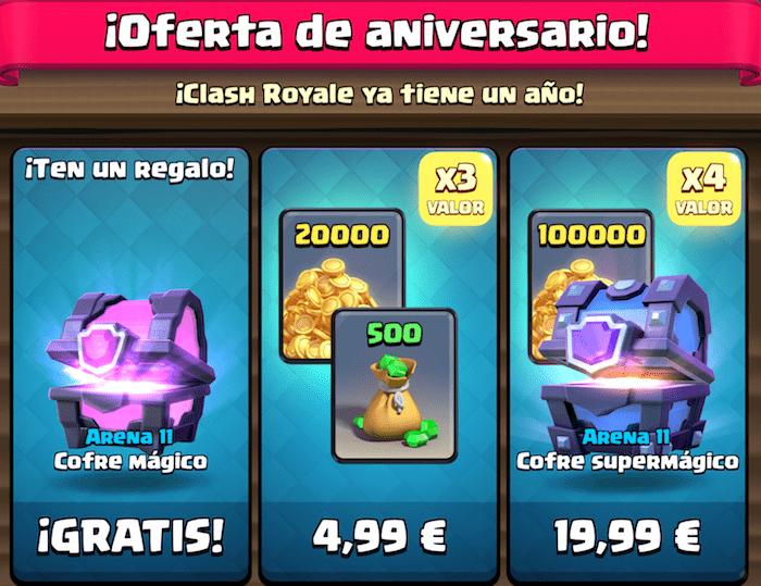 oferta aniversario clash royale cofre gratis