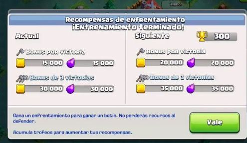 recompensas batallas coc