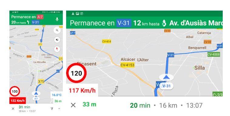 ver la velocidad a la que vas en Google Maps