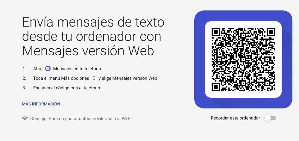 versión web de Mensajes de Android