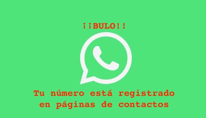 whatsapp bulo tu numero esta registrado en paginas de contactos